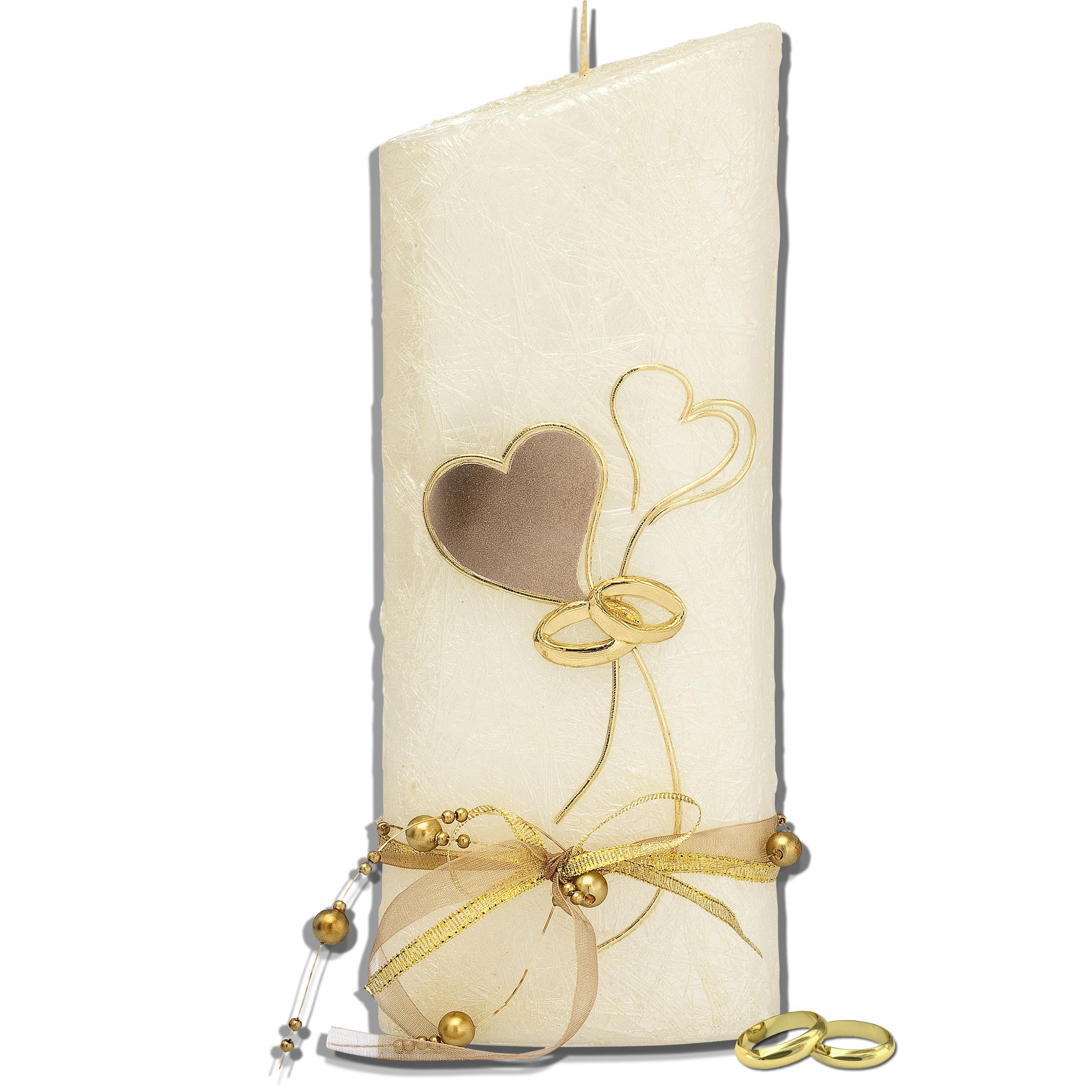 Hochzeitskerze Perlmutt Gold Kerzen Stuberl