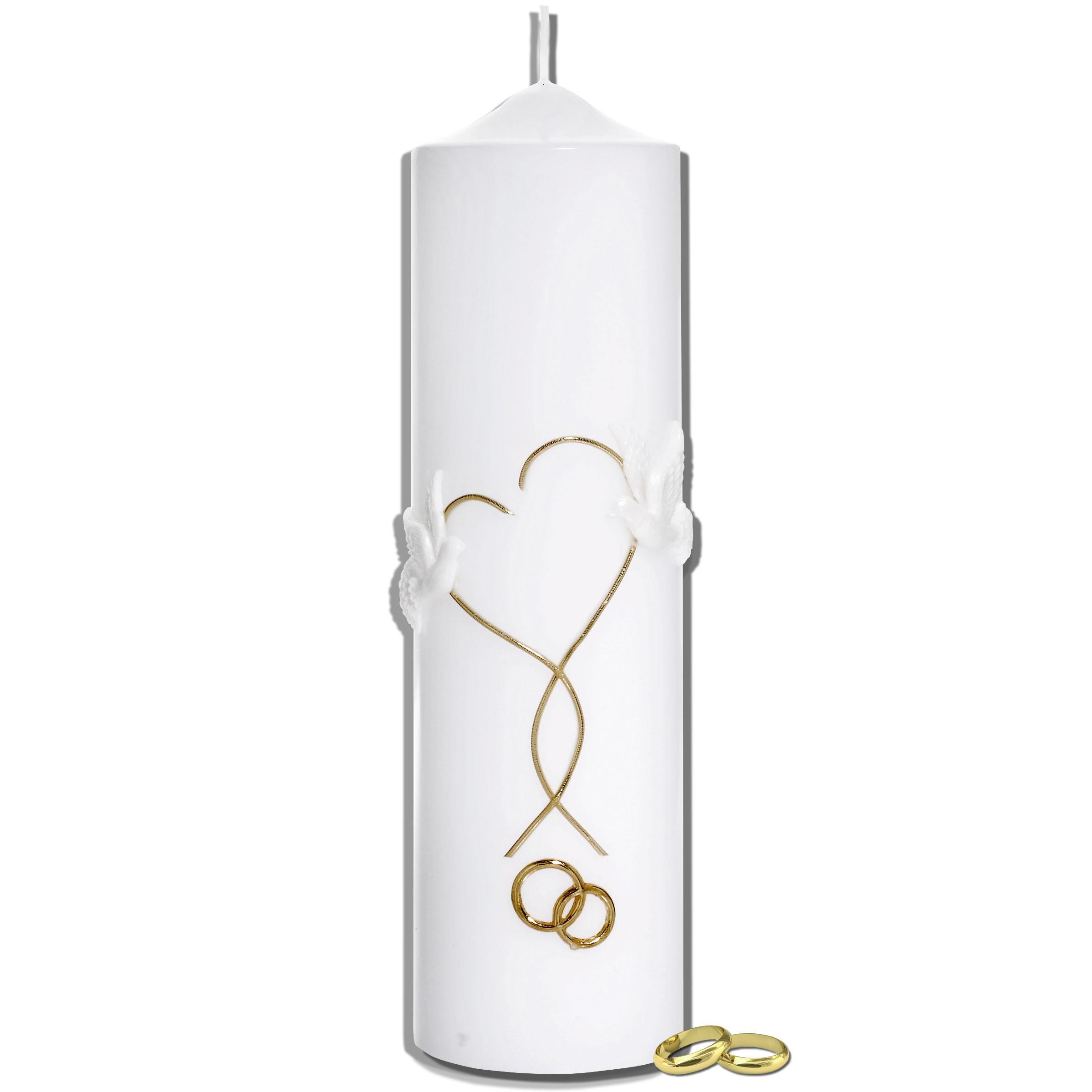 Hochzeitskerze | Herz und Tauben | Kerzen-Stüberl