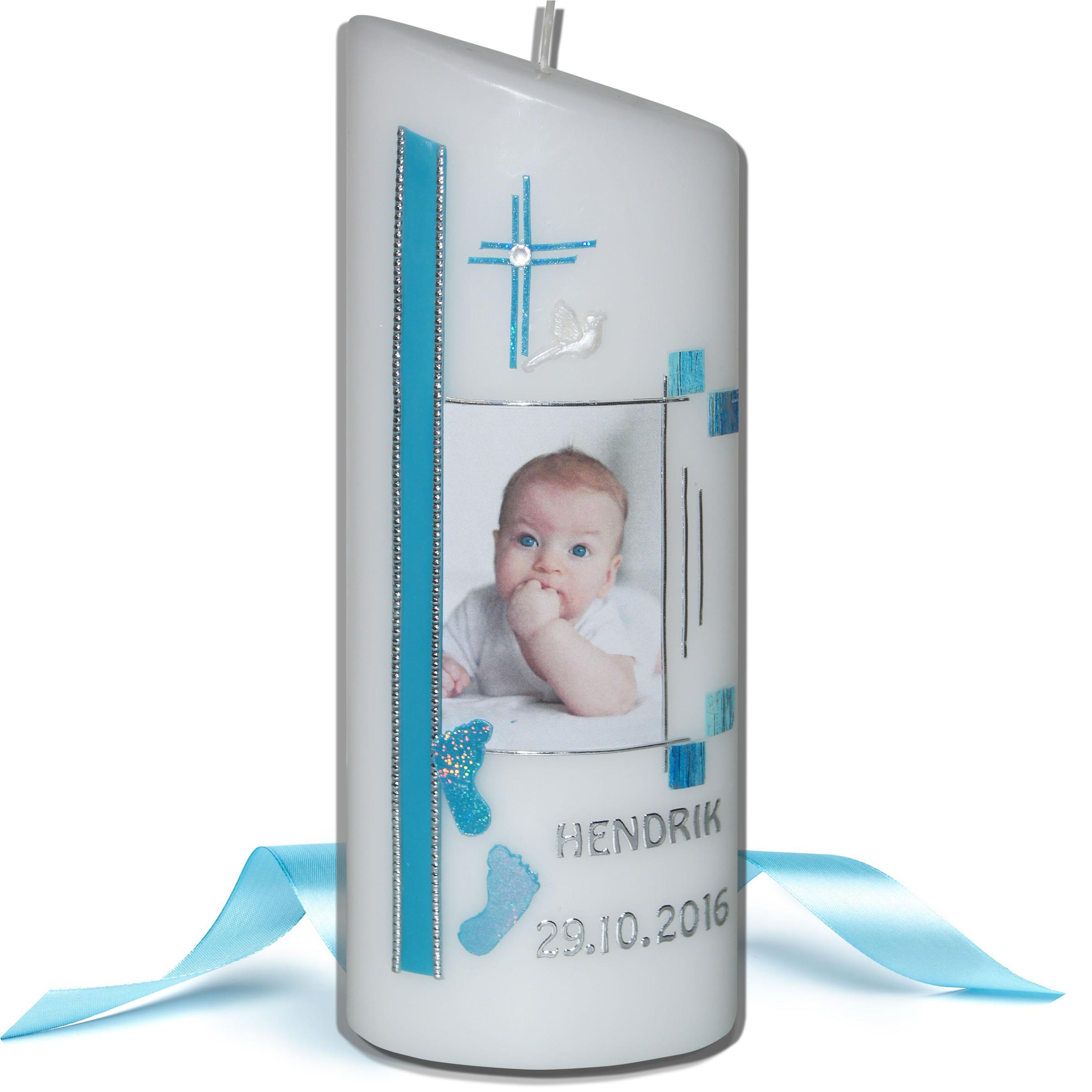 Taufkerze-Fotokerze für Jungen mit Babyfüßchen
