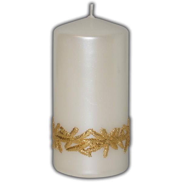 Weihnachtsdeko-Kerze | Elfenbein-Perlmutt
