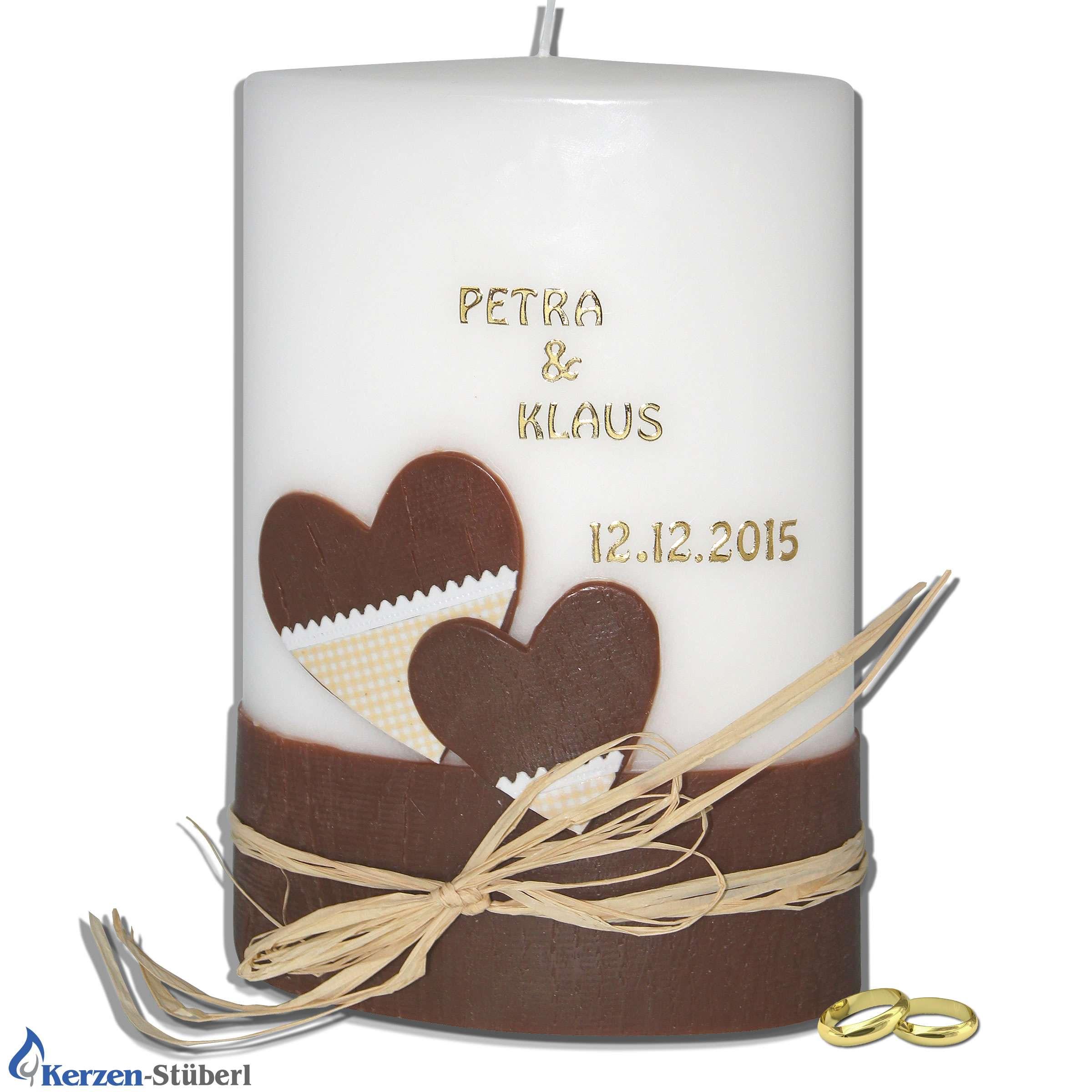 Moderne Hochzeitskerze mit Herzen in Holzoptik | Kerzen-Stüberl
