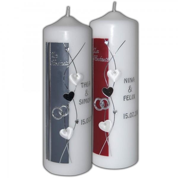 Hochzeitskerzen-Brautkerzen Weinrot und Grau