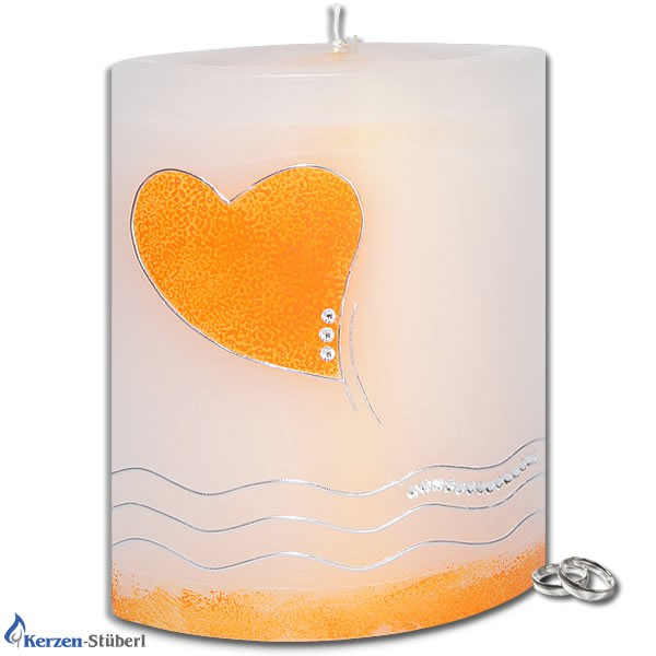 Hochzeitskerze-Swarovski-Herz-Apricot-Silber-Welle
