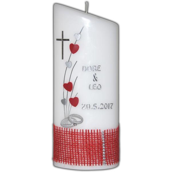 Hochzeitskerze-Brautkerze-Herzen-Juteband-Rot