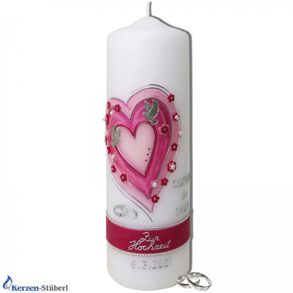 Hochzeitskerze-Herz-Rosa-Pink Test