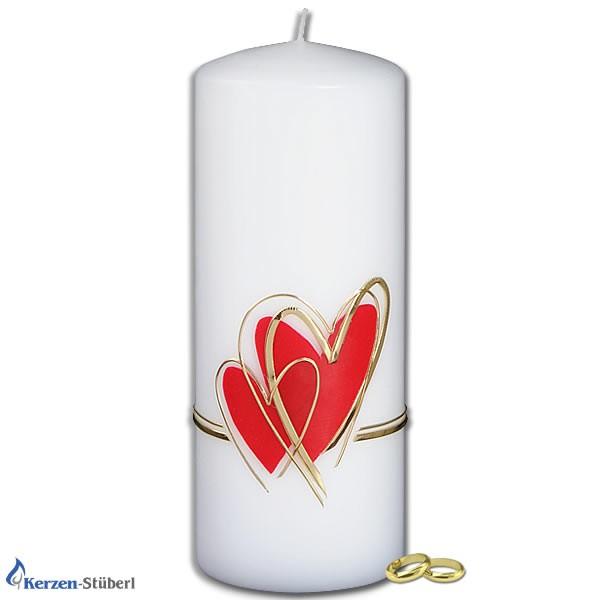 Hochzeitskerze-Herz-Doppelherz in Rot und Gold