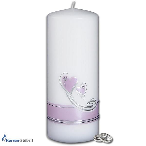 Hochzeitskerze - Herzen mit Schwung in Silber und Flieder Test