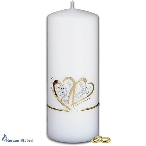 Hochzeitskerze-Herz-Doppelherz mit Glitter in Gold und Silber