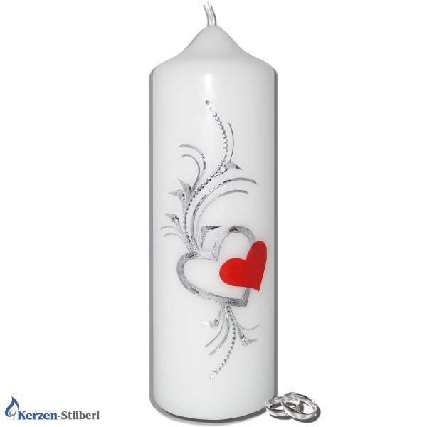 Hochzeitskerze Doppel-Herz Silber-Rot