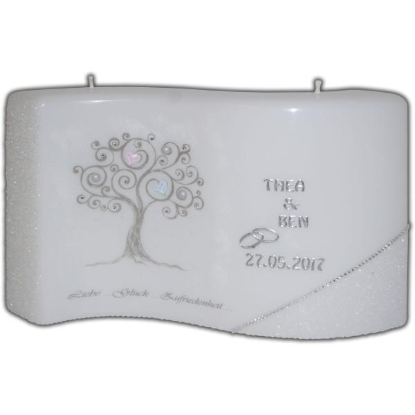 Hochzeitskerze-Swarovski-Herz-Lebensbaum