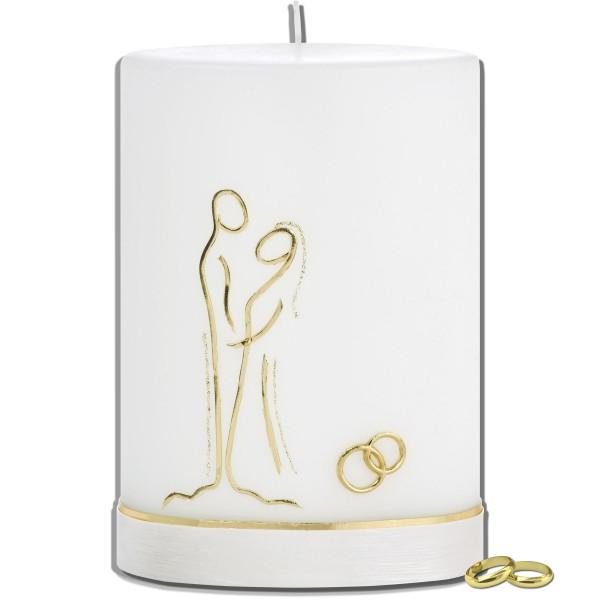 Hochzeitskerze-Modern-Brautpaar-Gold-Oval