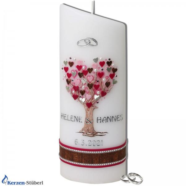 Hochzeitskerze Baum-Herzen | Abgeschrägte Ellipsenform Test