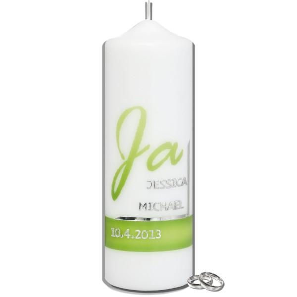 Hochzeitskerze-Modern-Ja-Grün-Silber