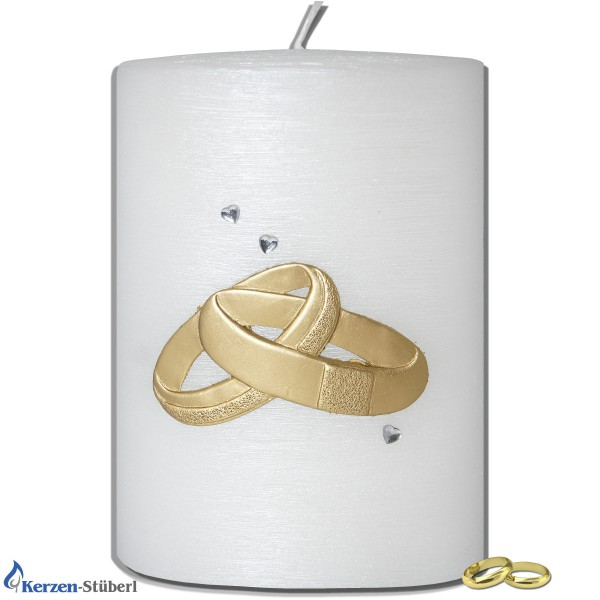 Hochzeitskerze Perlmutt gebürstet