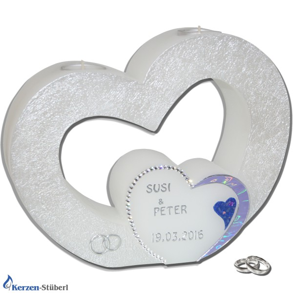 Hochzeitskerze Herz mit Swarovski in Flieder