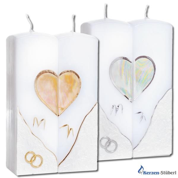 Hochzeitskerze-Traukerze-Brautkerze | Doppelkerze Gold und Silber