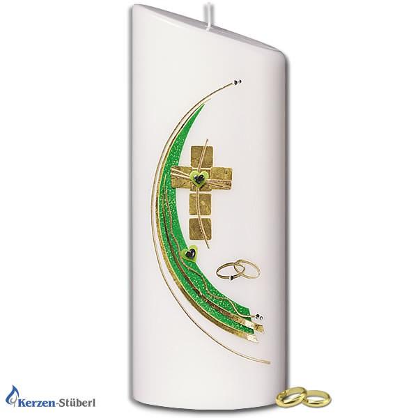 Abbildung einer Hochzeitskerze Grün-Gold. Kerzenform ist eine abgeschrägte Ellipse Test