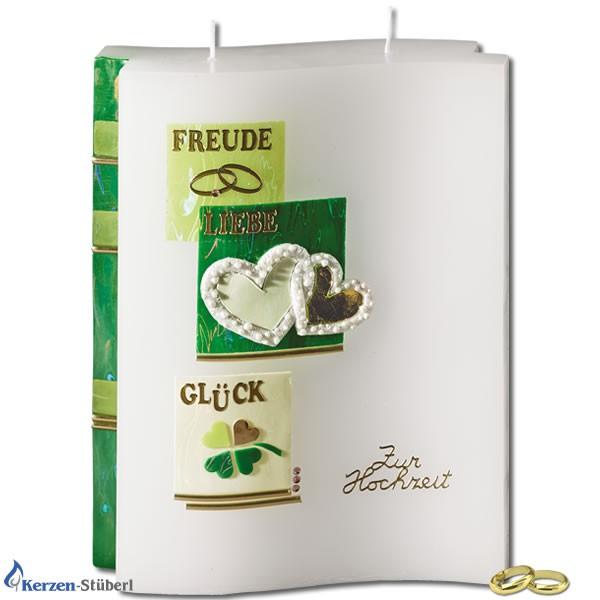 Hochzeitskerze-Traukerze-Brautkerze | Grün ist die Hoffnung