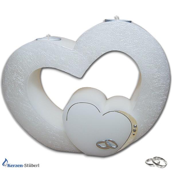 Abbildung einer Hochzeitskerze in Herz-Form als Doppelherz mit Teelichteinsatz