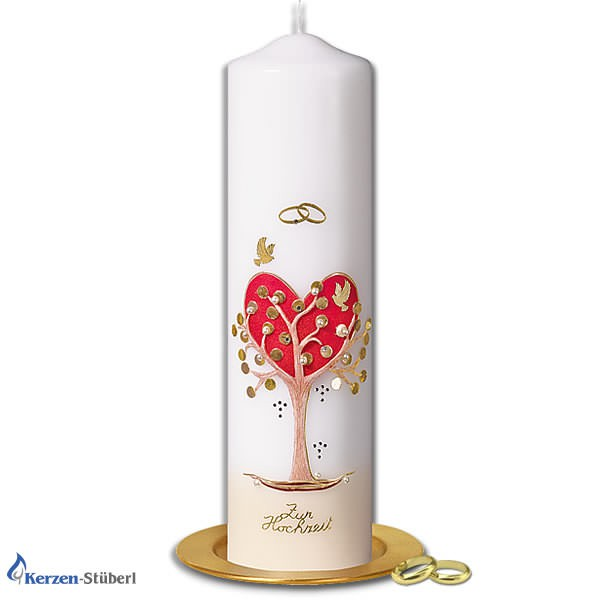 Abbildung einer Hochzeitskerze mit Herz-Baum der als lebensbaum dargestellt ist. Verzierungen in Rot und Gold.