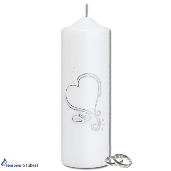 Ansicht einer Hochzeitskerze-Traukerze-Brautkerze | Silber Herz Trauringe
