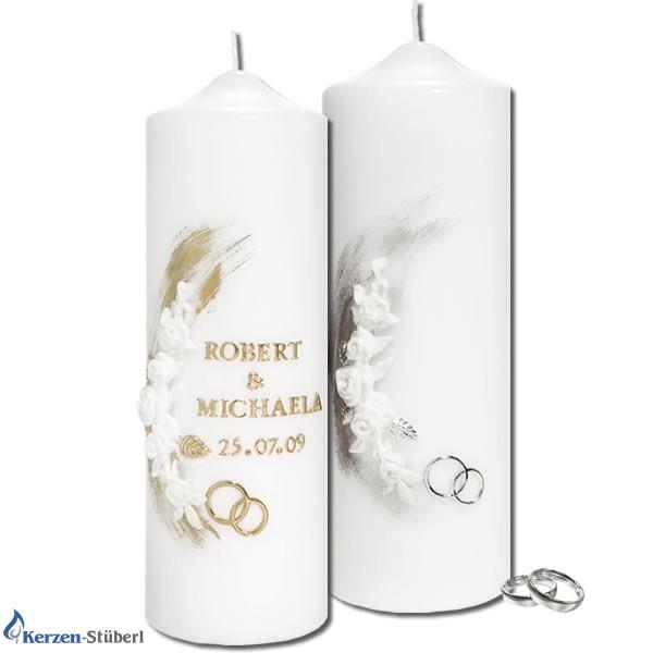 Hochzeitskerze-Traukerze-Brautkerze | Weiße Rosen Test