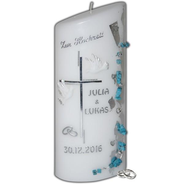Hochzeitskerze-Türkise-Herzen-Blattsilber Test