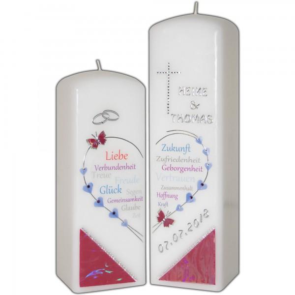 Hochzeitskerzen Doppelkerze mit Herz