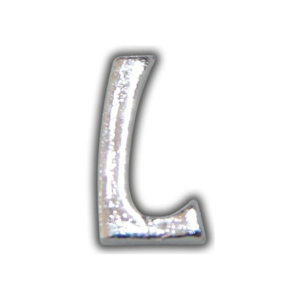 """Kerzenbeschriftung-Wachsbuchstabe """"L"""" Silber-Moderne Schriftart Test"""