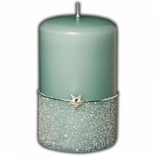 Adventskerze-Weihnachtskerze mit Glasglitter & Stern | Grün