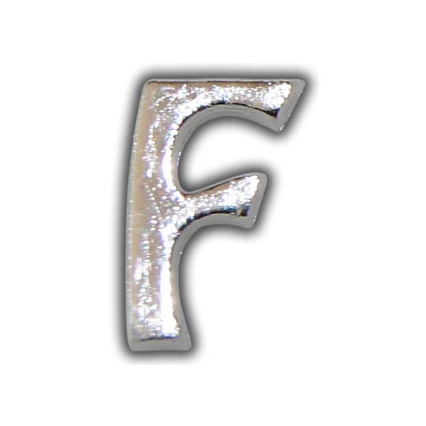 """Wachsbuchstabe """"F"""" Silber-Moderne Schriftart"""