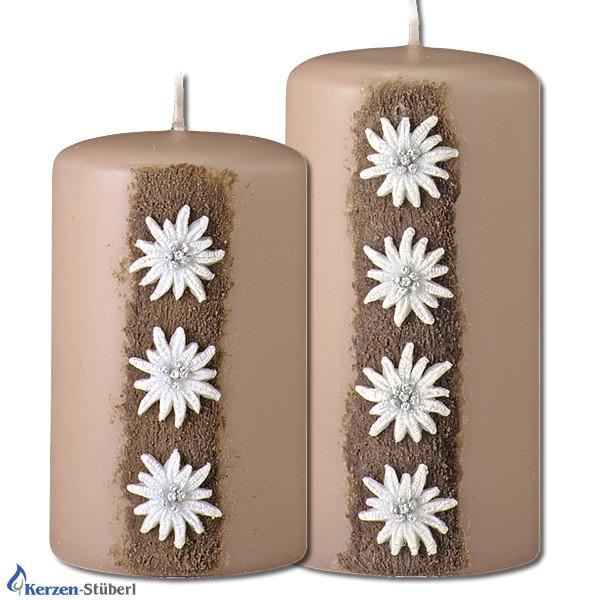 Trendkerzen-Edelweiß-Nougatfarbene Kerzen
