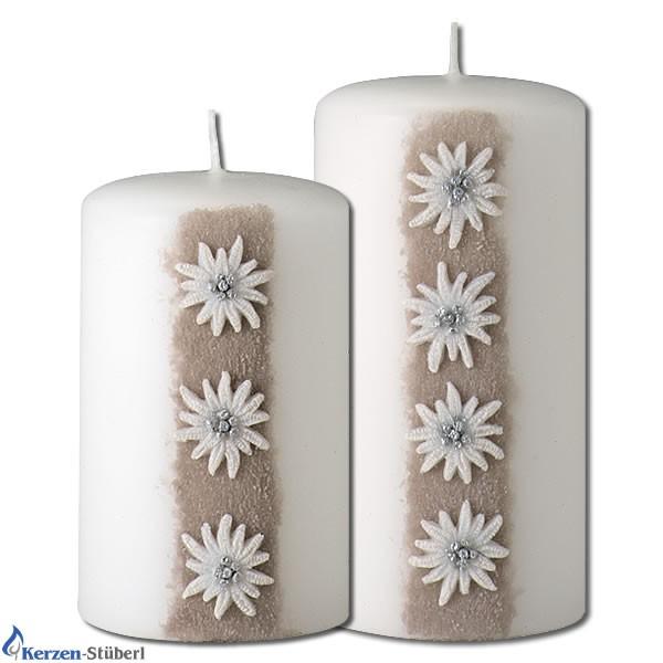 Trendkerzen-Edelweiß-Weiße Kerzen