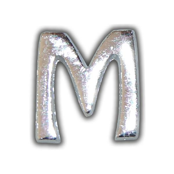 """Kerzenbeschriftung-Wachsbuchstabe """"M"""" Silber-Moderne Schriftart"""
