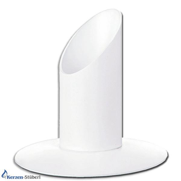 Abbildung eines weißen Metall-Kerzenhalter für Taufkerzen-Kommunionkerzen und Konfirmationskerzen mit einem Durchmesser bis 30 mm.