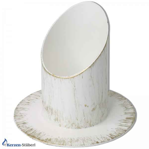 Kerzenhalter Weiß-Gold 6 cm Test