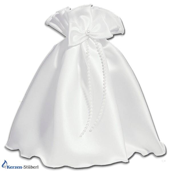 Abbildung eines weißen Kerzenrock mit Schleife und Kunst-Perlen für Taufkerzen und Kommunionkerzen.