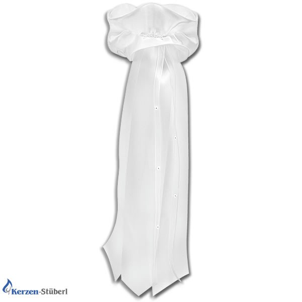 Abbildung einer weißen aus Satin gefertigten Kerzenschleife