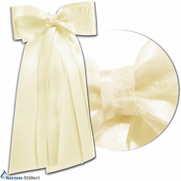 Abbildung einer creme-farbenen Kerzenschleife für hohe schlanke Taufkerzen und Kommunionkerzen