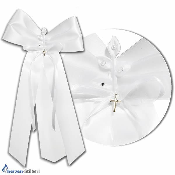 Abbildung einer Kerzenschleife aus Satin-Stoff mit kleinen Kunst-Perlen und kleinen Kreuz