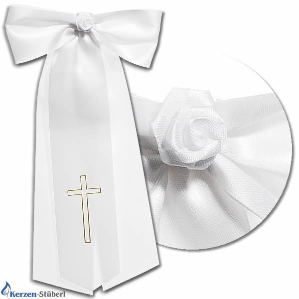 Abbildung einer Kerzenschleife aus Satin für Taufkerzen und Kommunionkerzen mit einer kleiner gebundenen Rose
