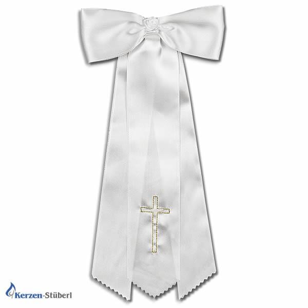 Abbildung einer kerzenschleife aus Satin für lange dünne Taufkerzen und Kommunionkerzen mit goldenem Kreuz