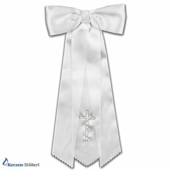 Abbildung einer Kerzenschleife aus Satin mit silbernen Kreuz für lange dünne Taufkerzen und Kommunionkerzen