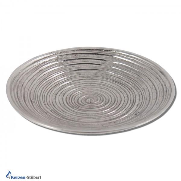 Metall Kerzenteller - Silber-Rund-Geriffelt