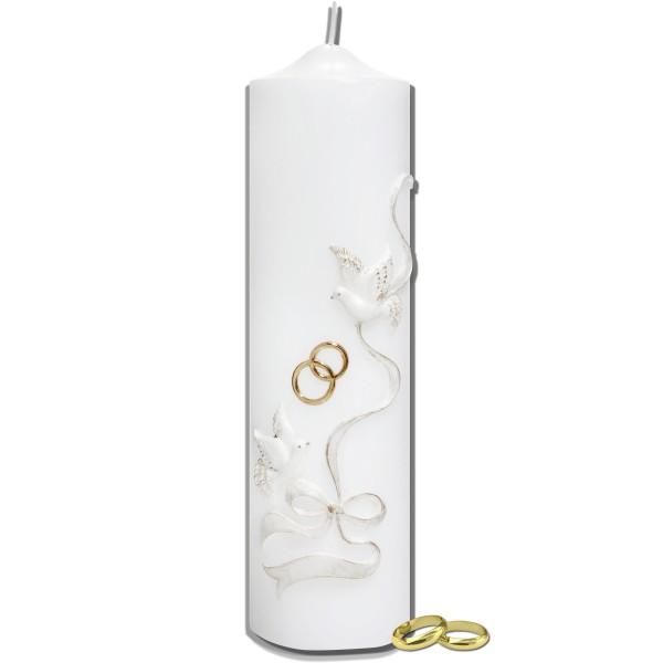 Klassische Hochzeitskerze mit Tauben und Trauringe Test