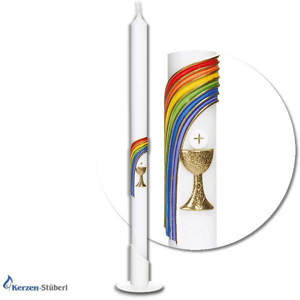 Abbildung einer Kommunionkerze - Konfirmationskerze mit Regenbogen, Kelch und Hostie