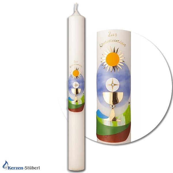 Abbildung einer Kommunionkerze, Konfirmationskerze mit Kelch, Hostie und Natur-Motiv wie Sonne, Wiese und der Himmel