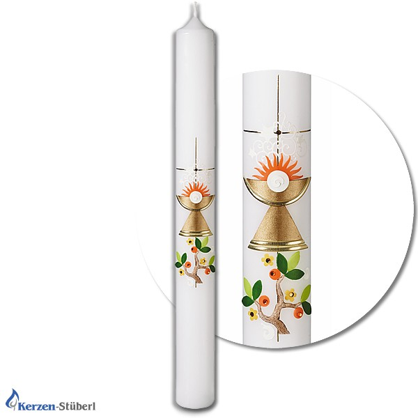 Abbildung einer Kommunionkerze-Konfirmationskerze-Segenskerze mit Kelch, Hostie, Sonne und Zweig Test