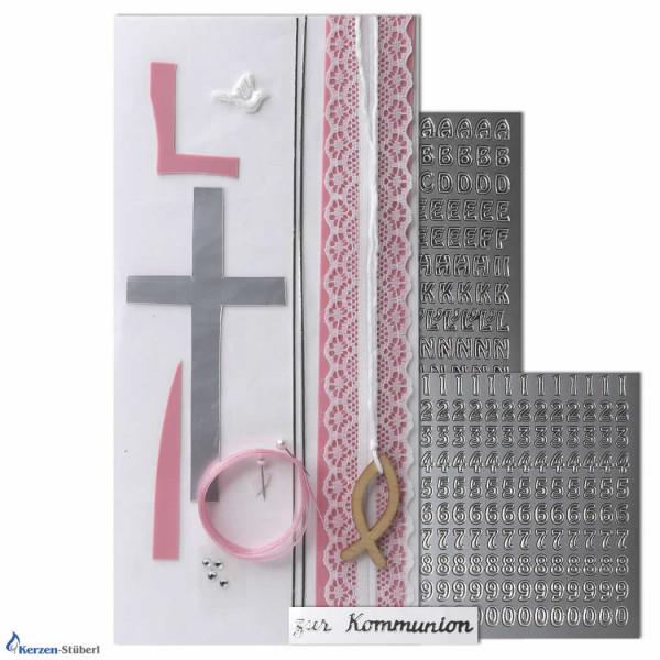 Kommunionkerzen-Konfirmationskerzen-Bastelset-Rosa-Silber Test