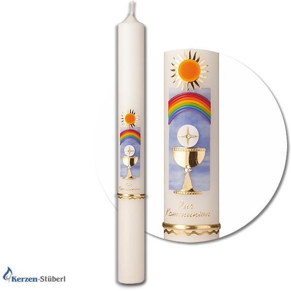 Abbildung einer Kommunionkerze-Konfirmationskerze mit Regenbogen, Sonne, Kelch und Hostie. Test